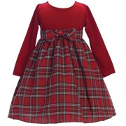 Baby Girls Red Stretch Velvet Plaid Pattern Bow Occasion Dress 3-24M