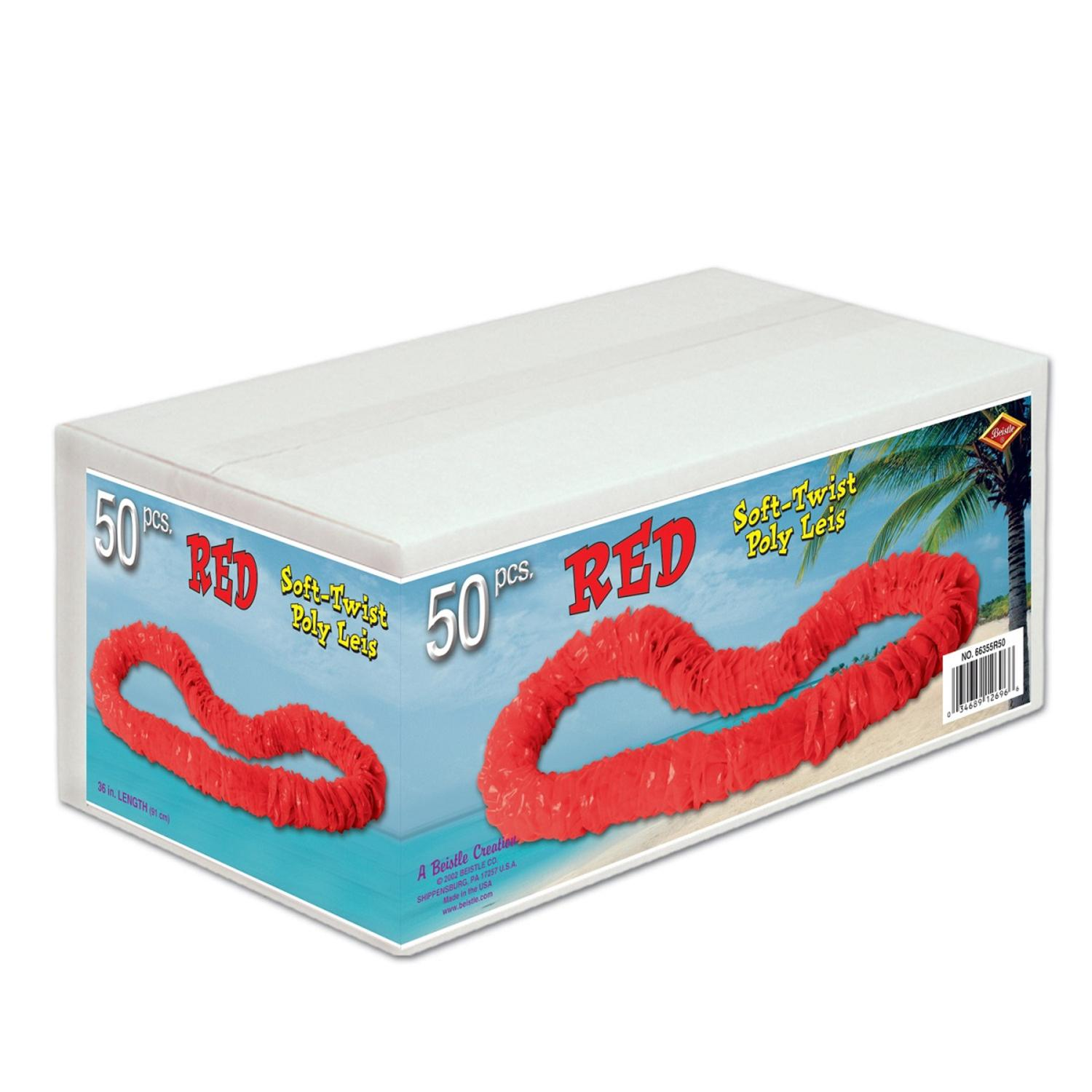 """Club Pack of 50 Red Soft-Twist Leis 36"""""""