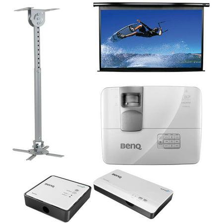 BenQ HT1085ST DLP Short-Throw Home Theater Projector, Elite Screens Spectrum Series 100