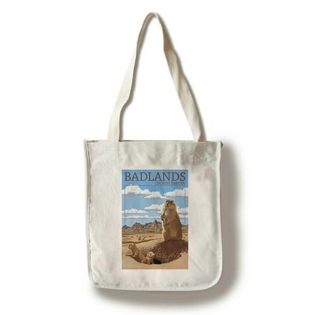Badlands, North Dakota - Prairie Dogs - Lantern Press Poster (100% Cotton Tote Bag - Reusable)