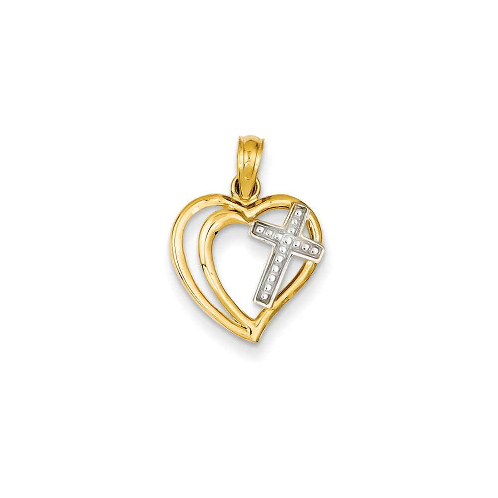 14K Two Tone Gold Double Heart with Cross Pendant