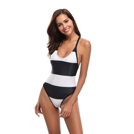 06e8ad2be311 Women's Sexy Bikini Swimsuit, Low Cut High Waisted One Piece Swimsuits,  Two-Color Contrast Color Teens Stretch Halter Push up Bikini, Monokini  Tummy Control ...