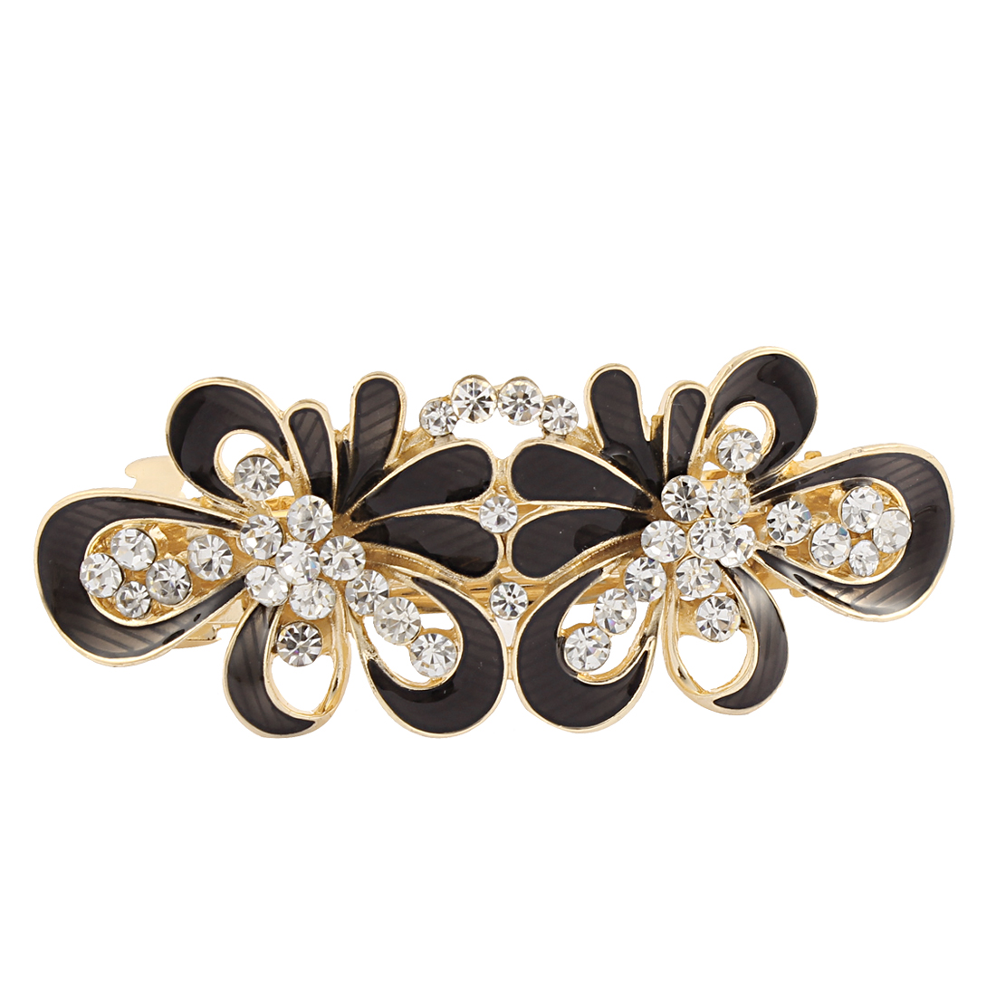 Women Rhinestone Detail Floral Shape Spring Loaded Hair Barrette Clip