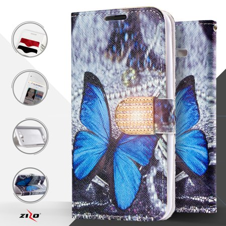 Zizo Design Wallet Case Pouch For ZTE Grand X 3 Z959 / ZTE Warp 7 N9519 w/ TPU Inside Case Cover IDs Money Organizer Credit Card Holder