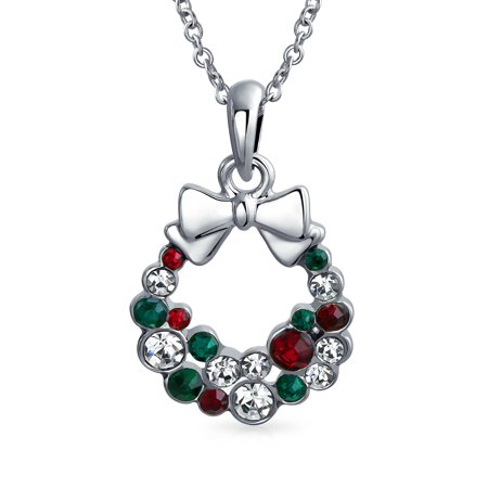 Holiday Red Green White Crystal Christmas Wreath Bow Pendant Silver Plated Brass Necklace For Women For Teens 16 Inch