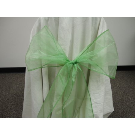 Wedding Anniversary Colors (Organza Chair Bow Sashes Wedding Anniversary Party Decoration. GREEN color, Lot of 12)