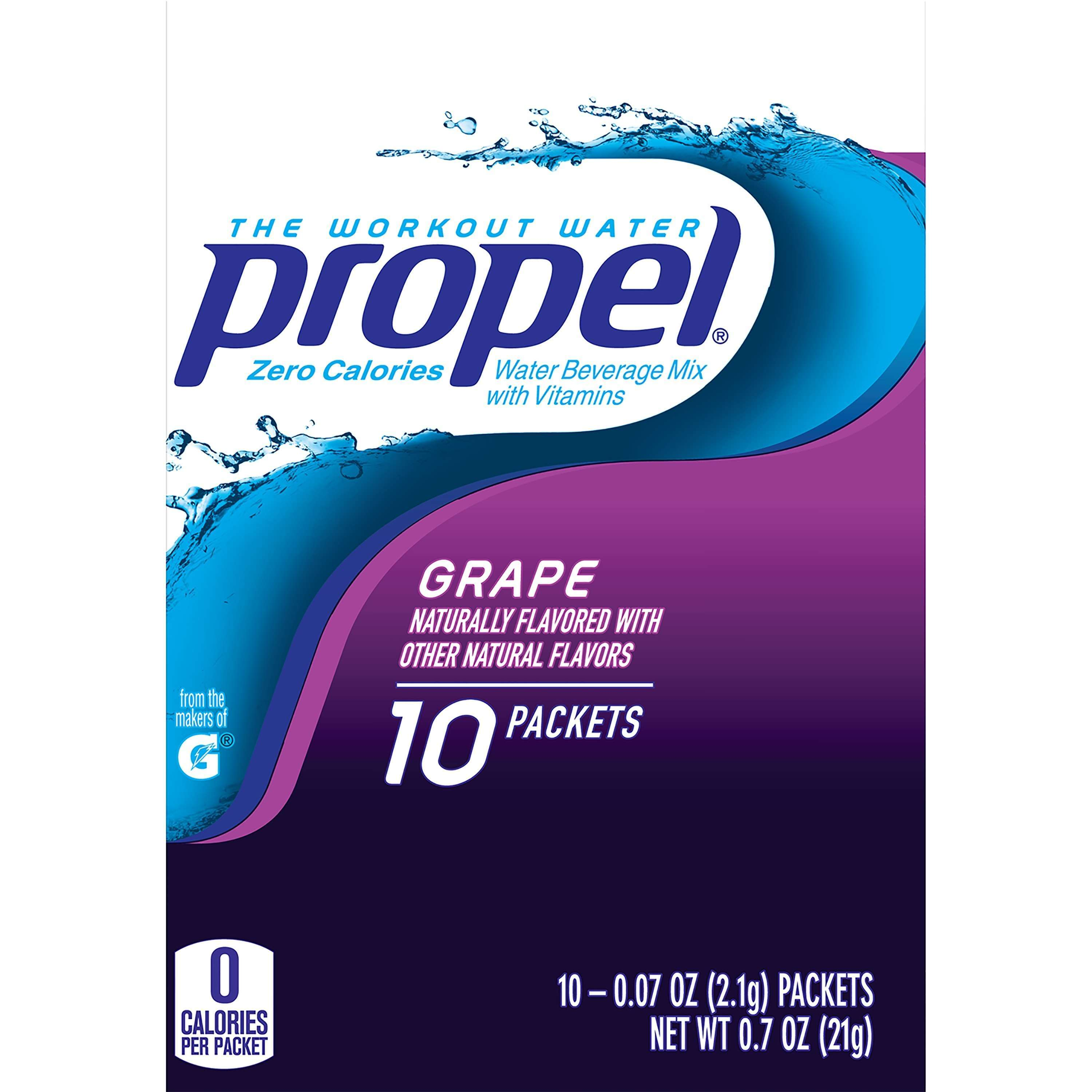 Propel Zero Calorie Grape Flavored Water Beverage Mix (10-0.07) 0.7 Ounce 10 Pack Box