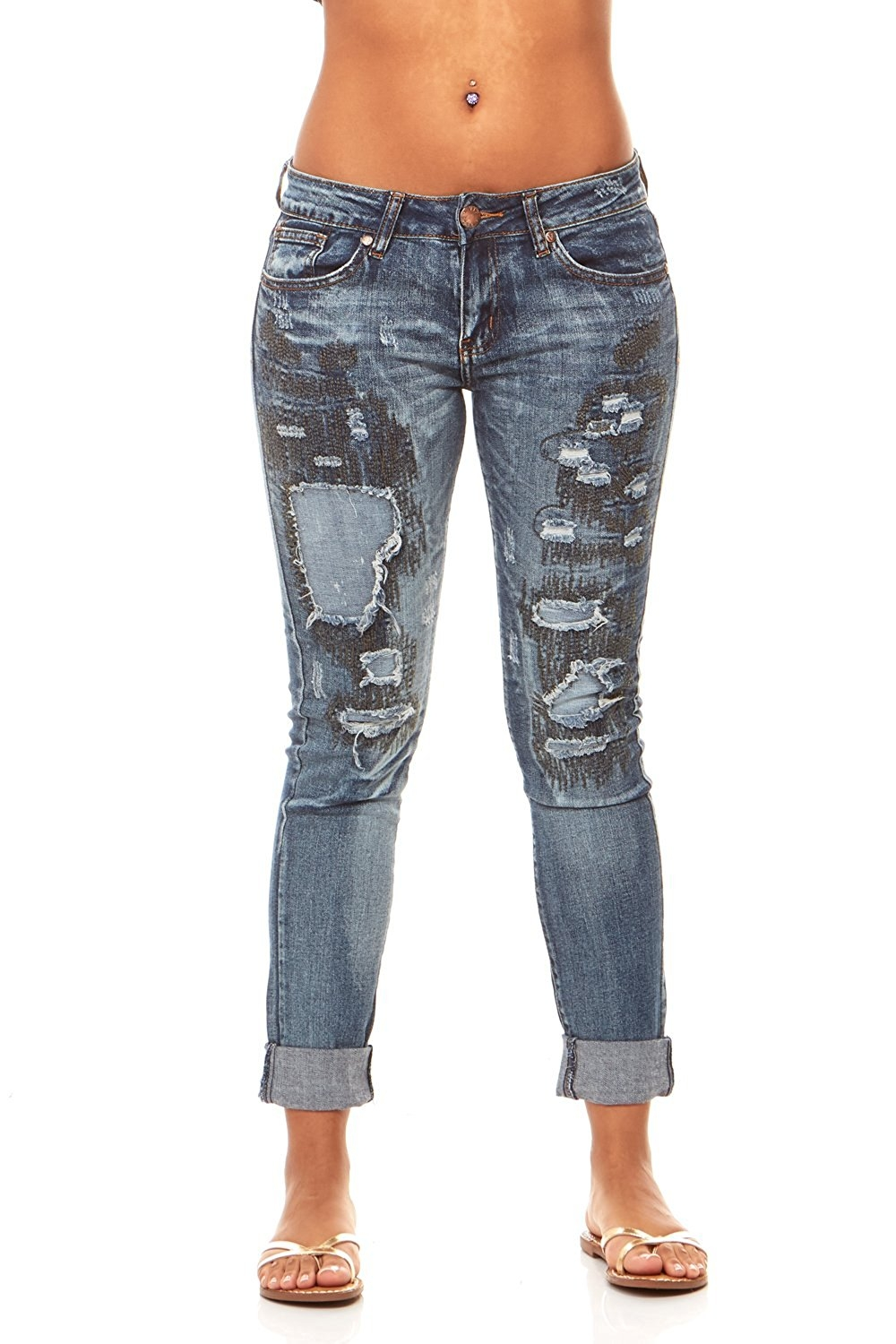 VIP Jeans for women | Ripped Distressed and Repaired Butt Lift Skinny jeans with Comfort Stretch | Junior sizes stylish...