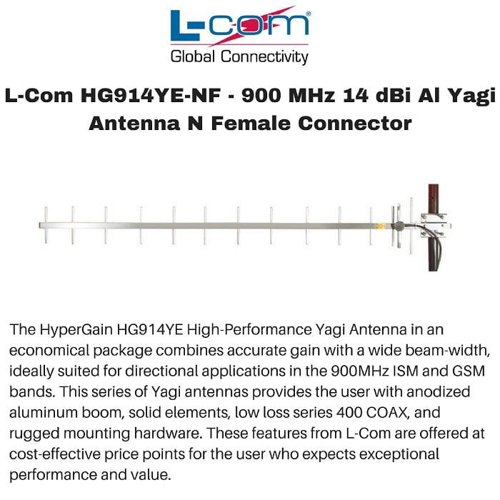 L-Com HG914YE-NF - 900 MHz 14 dBi Al Yagi Antenna N Female Connector