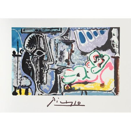 Pablo Picasso 2070 Le Peintre et Son Modele, Lithograph on Paper 29 In. x 22 In. - Blue, Purple, Green, Pink