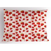 Strawberry Pillow Sham Delicious Summer Fruit Snacks and Daisy Petals Pattern on Striped Background, Decorative Standard Queen Size Printed Pillowcase, 30 X 20 Inches, Multicolor, by Ambesonne