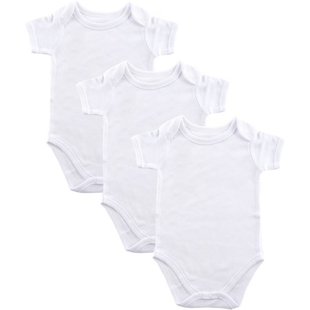Baby Boys' and Girls' 3-Pack White Bodysuit, Choose Your Size - White Wolf Onesie
