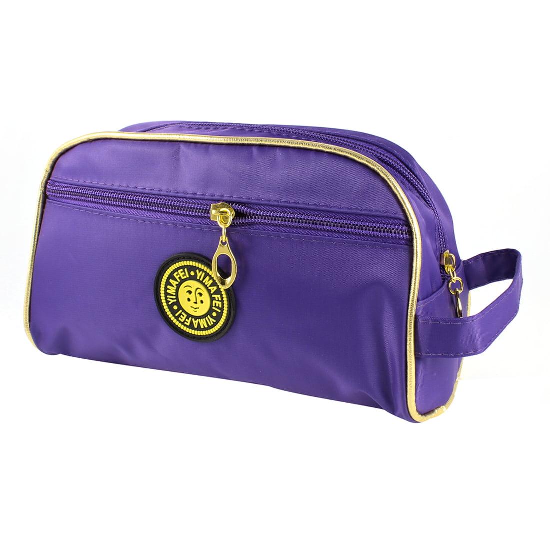 Women Rectangle Zippered Cosmetic Bag Makeup Holder W