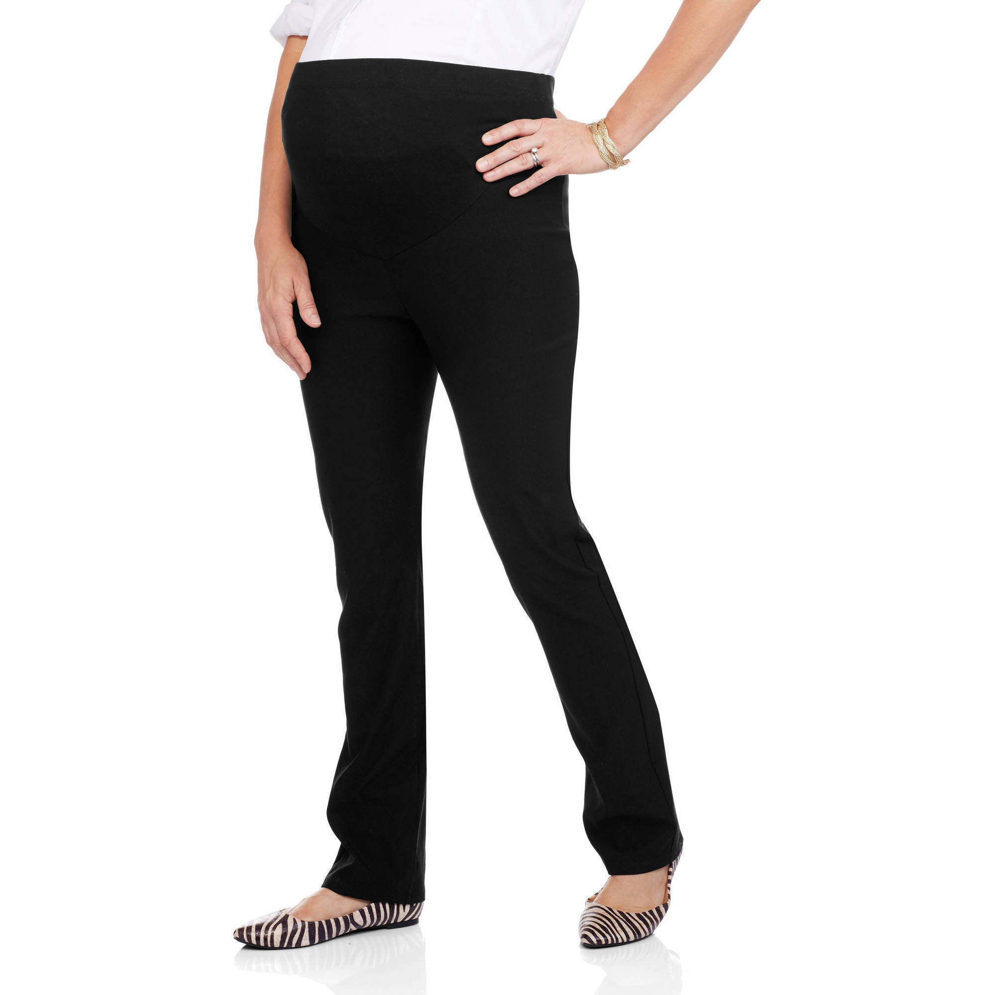 Glamour & Co Maternity Full Panel Stretch Woven Pants