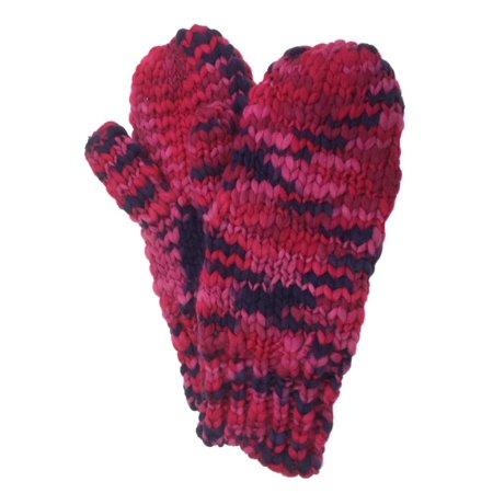 Women Fleece Mittens (Urbanology Womens Chunky Knit Pink Speckled Mittens with Fleece)