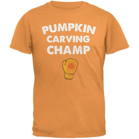Halloween Pumpkin Carving Champ Tangerine Adult T-Shirt - Easy Halloween Pumpkin Carving Designs