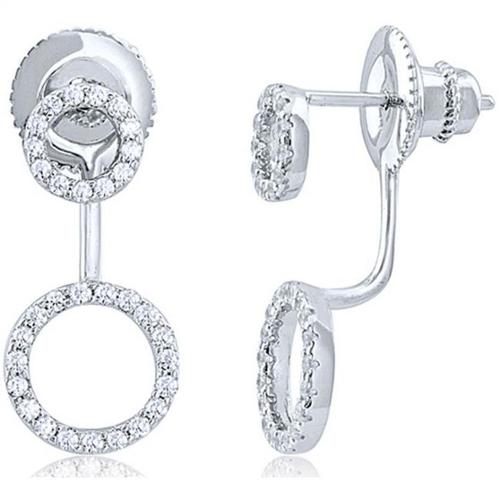 Doma Jewellery SSEZ810 Sterling Silver Earrings With Micro Set CZ, 3.5 g.