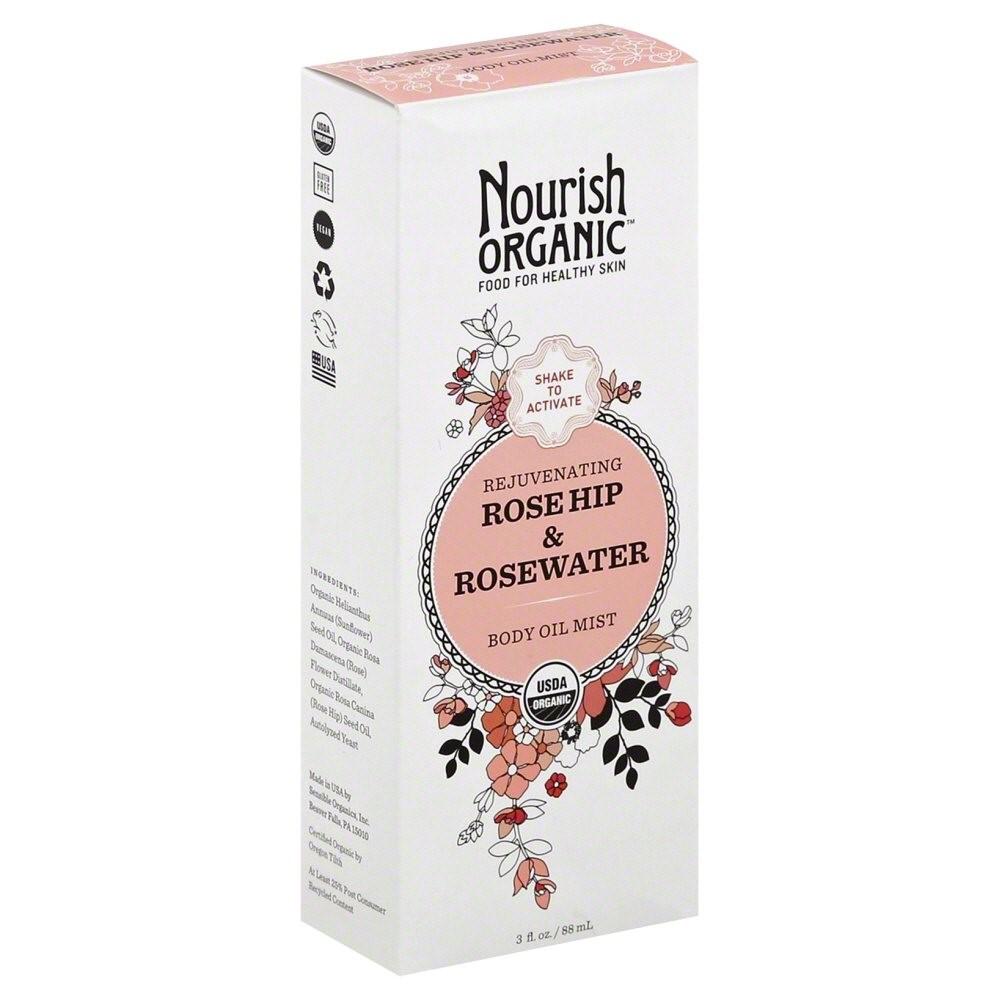 Nourish Organic Organic Body Oil Mist - Rejuvenating Rose Hip And Rosewater, 3 Oz
