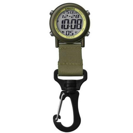 Moss Green Black Lightweight Clip Watch With Digital Movement By Dakota