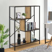 Clearance! 4 Tier Rustic Industrial Bookshelf, Metal Frame Storage Shelf Bookcase Standing Racks for Living Room Bedroom, Free Standing Display Shelves, Shelving Unit Book Stand for Home, Q13868