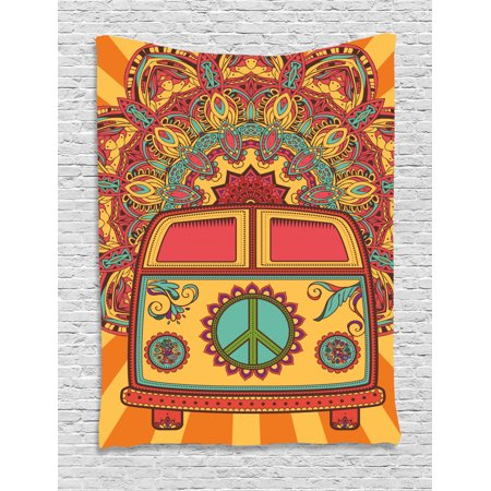 70s Party Tapestry, Hippie Vintage Mini Van Ornamental Backdrop with Peace Sign Artwork, Wall Hanging for Bedroom Living Room Dorm Decor, Coral Orange Turquoise, by Ambesonne