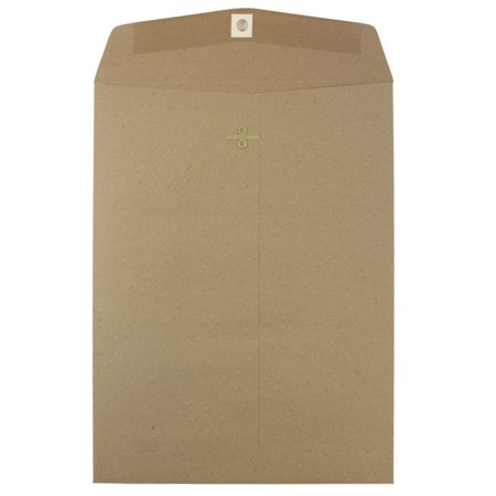 Open End Brown Kraft Clasp (JAM Paper 9 x 12 Open End Envelopes with Clasp Closure, Brown Kraft Paper Bag Recycled,)