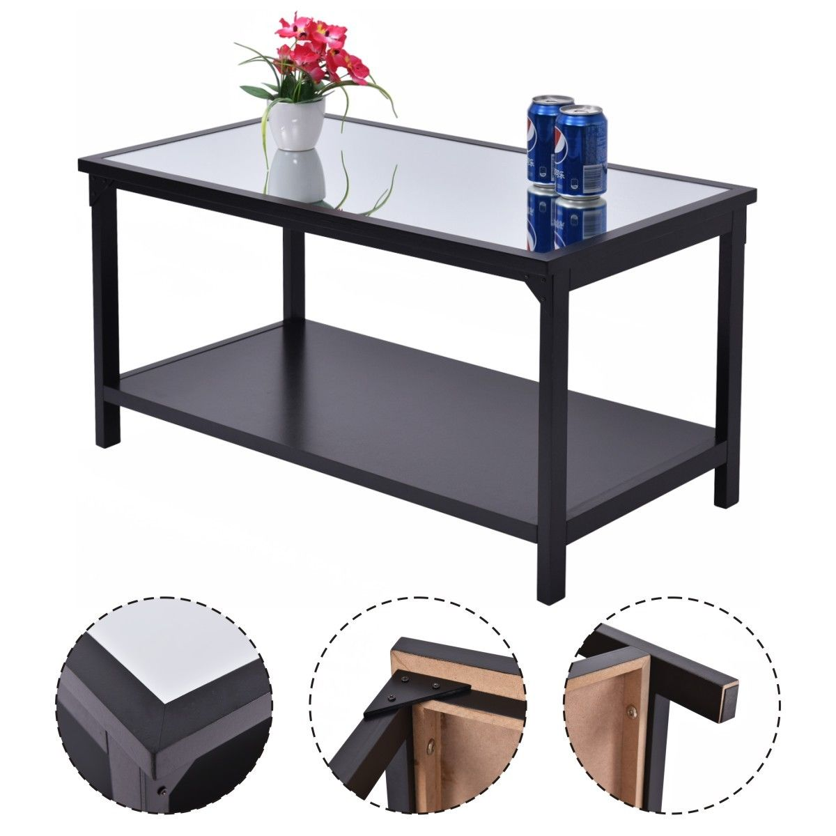 Costway Accent Coffee Table Glass Top Modern Living Room Furniture w ...