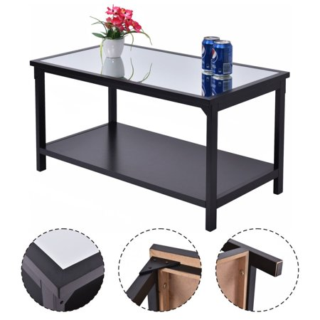 Costway Accent Coffee Table Glass Top Modern Living Room Furniture ...