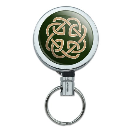 Celtic Knot Love Eternity Heavy Duty Metal Retractable Reel ID Badge Key Card Tag Holder with Belt Clip (Badge Holder With Clip)