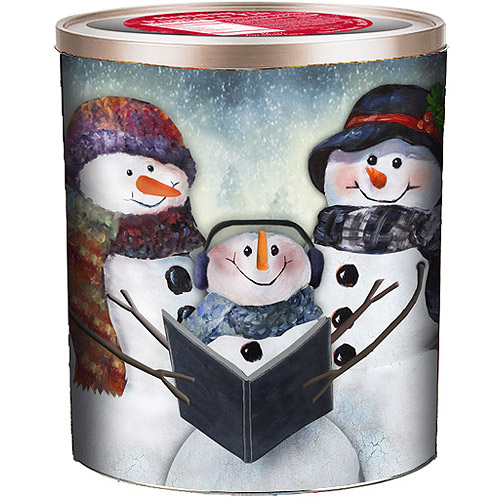 Gourmet Select Holiday Caroling Snowmen Embossed Popcorn Tin Gift, 18 oz