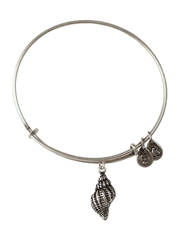 Conch Shell Charm Russian-Silver Expandable Bangle Bar Bracelet
