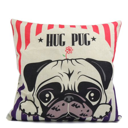 Square Linen Bulldog Pattern Printed Car Sofa Throw Pillow Cover Home Decor - image 1 de 3