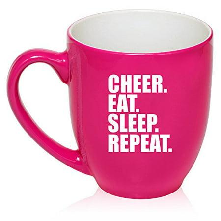 16 oz Large Bistro Mug Ceramic Coffee Tea Glass Cup Cheer Eat Sleep Repeat Cheerleader (Hot Pink)](Hot Cowboy Cheerleaders)