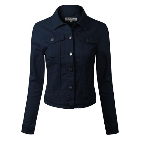 Made by Olivia Women's Solid Button Down Long Sleeve Classic Outerwear Cropped Denim Jacket Navy M