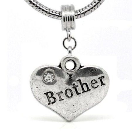 2 Sided Heart Brother Charm Spacer Bead for European Snake Chain Charm Bracelet for $<!---->