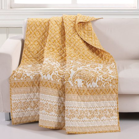 Barefoot Bungalow  Mykonos Gold Reversible Quilted Throw Blanket ()