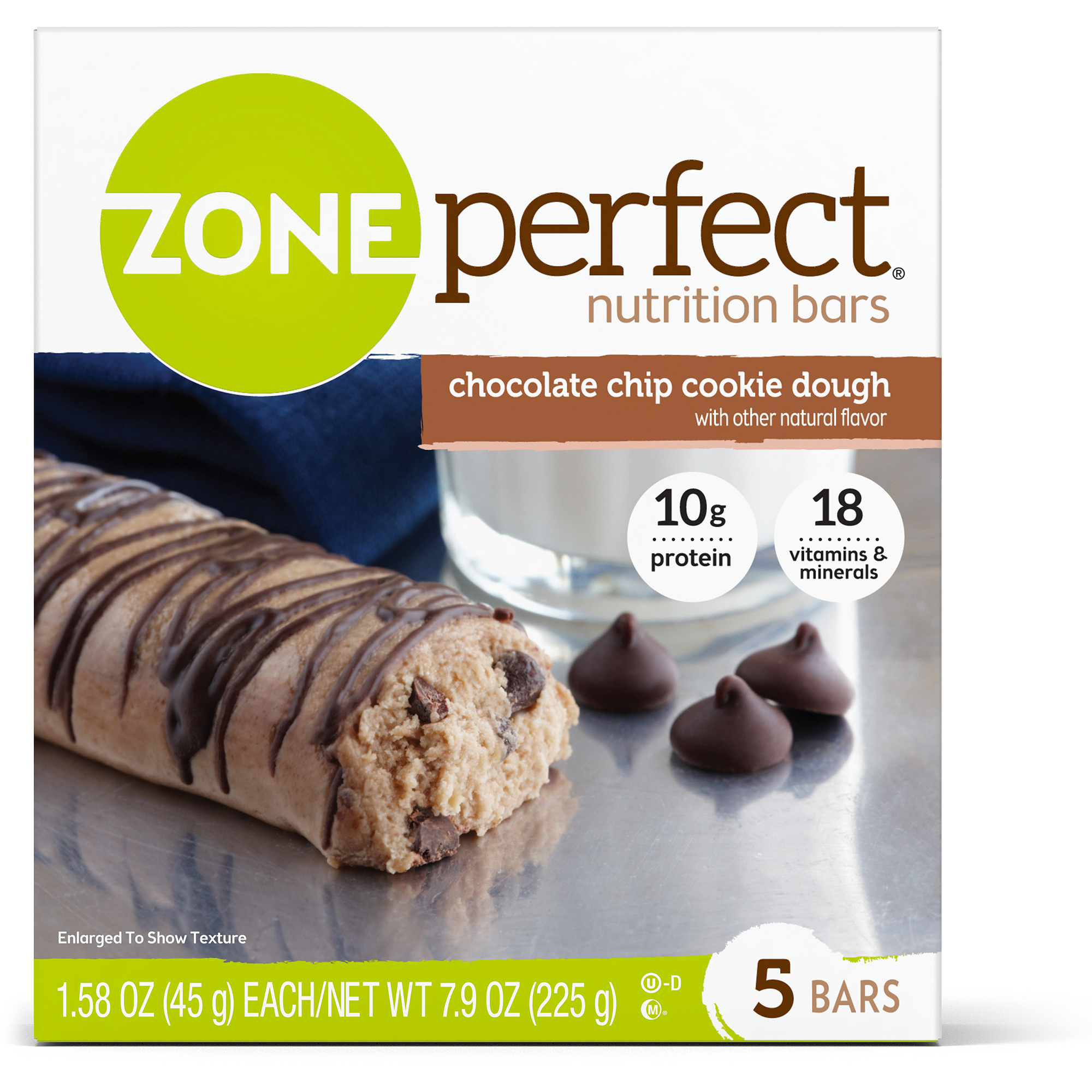 ZonePerfect Cookie Dough Nutrition Bars, Chocolate Chip, 5-pack