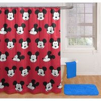 Mickey Mouse Heads Shower Curtain and Hooks Set