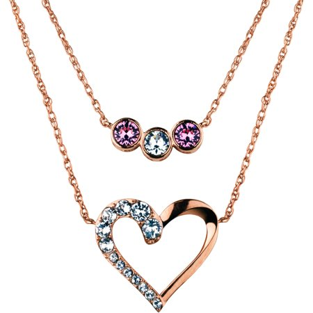Swarovski Crystal Fine Silver Plated/14kt Rose Gold Flash Open Heart/Multi Setting Duo Necklaces