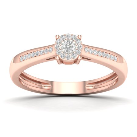 10k Rose Gold 0.1CT Round Cut Diamond Soliter Engagement Wedding Ring Size