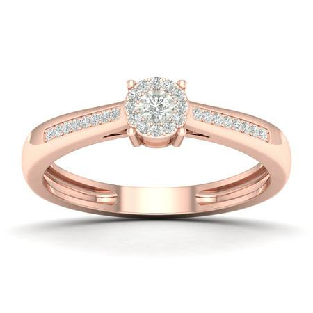 Rose Cut Ring - 10k Rose Gold 0.1CT Round Cut Diamond Soliter Engagement Wedding Ring Size 6.5