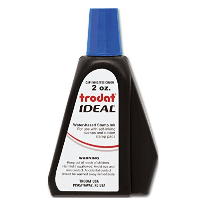 Trodat 53025 Ideal Premium Replacement Ink for Use with Most Self Inking and Rubber Stamp Pads, 2 oz, Blue