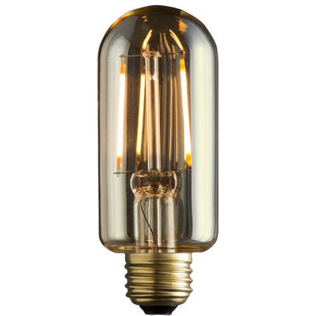 Vintage LED Filament Radio Tube Style T14 Lamp with Full Amber Glass, 2.0 Watts, 40-Watt Replacement, E26 Regular Base, Non-Dimming