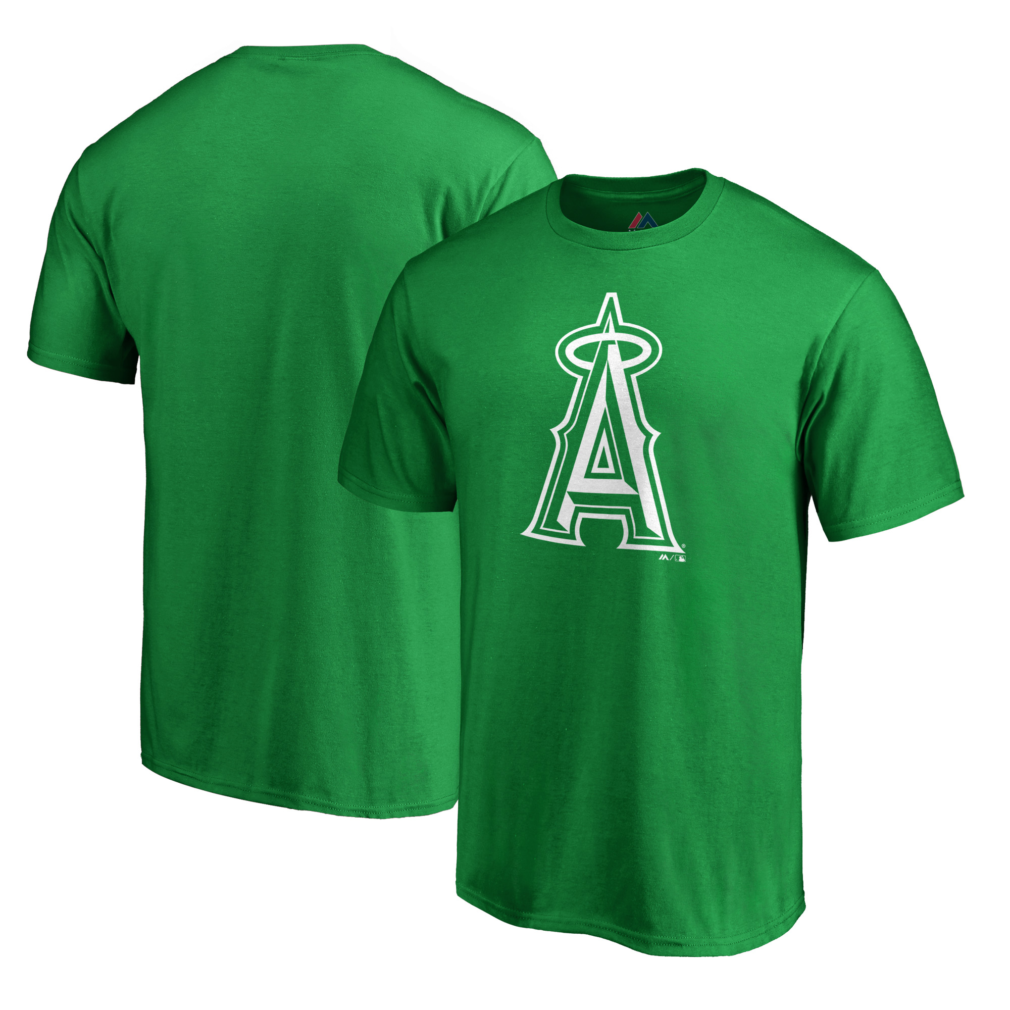 Los Angeles Angels Majestic St. Patrick's Day White Logo T-Shirt - Kelly Green