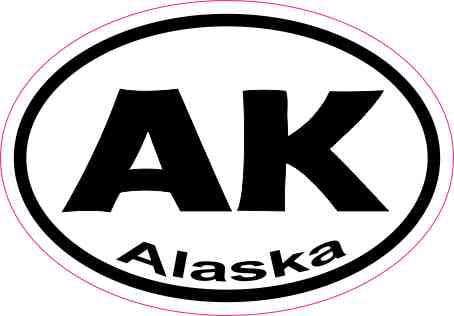 3in x 2in oval ak alaska sticker vinyl car window state bumper stickers