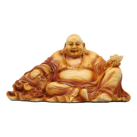 Ebros Feng Shui Hotei Happy Buddha Sitting with Gold Ingot and Money Coins Figurine 9