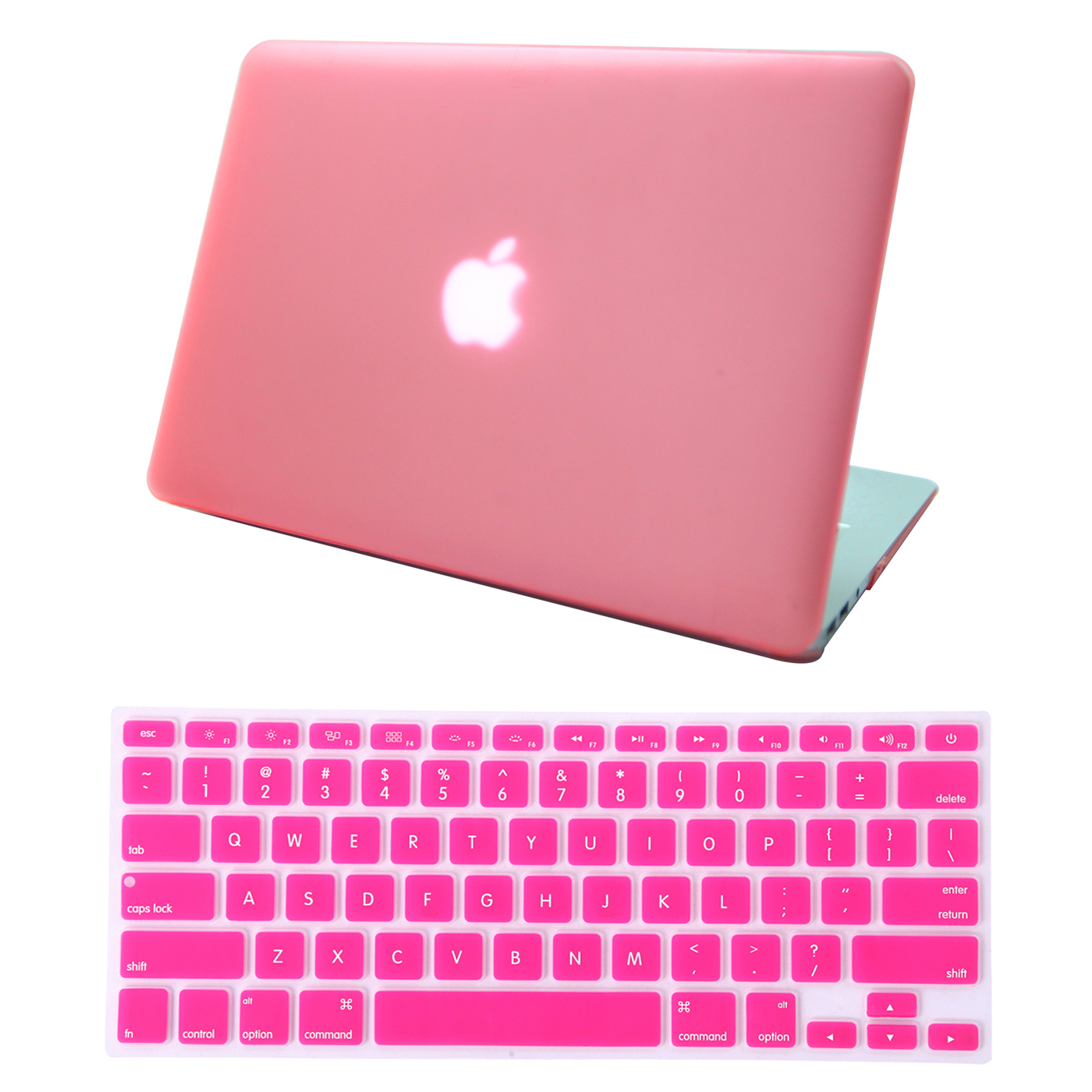 "HDE MacBook Air 13"" Case Hard Shell Cover Solid Rubberized Matte Plastic + Keyboard Skin - Fits 13.3"" Apple Mac Air Notebook Model A1369 / A1466 (Pink)"