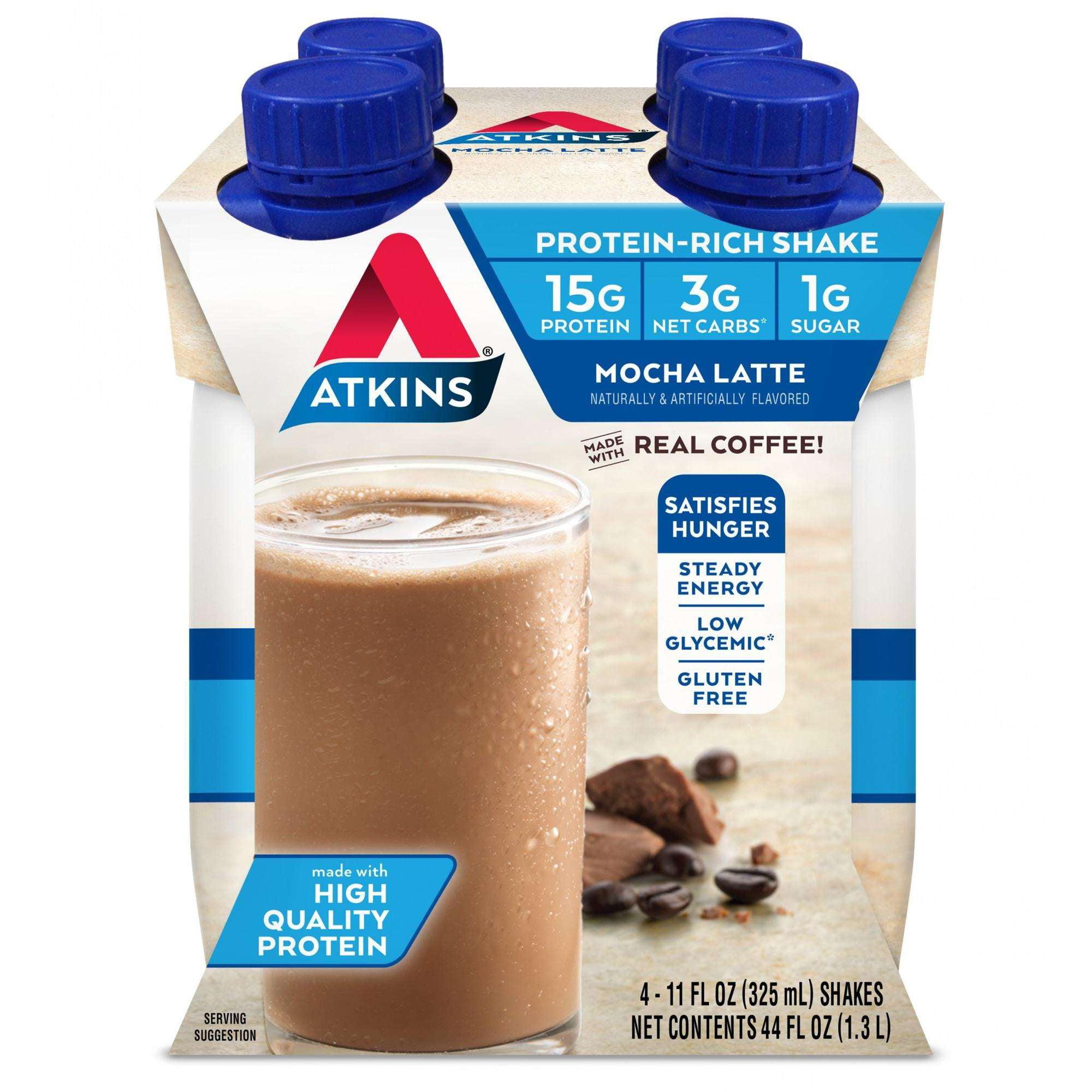 Atkins Mocha Latte Shake, 11Fl oz, 4-pack (Ready To Drink)