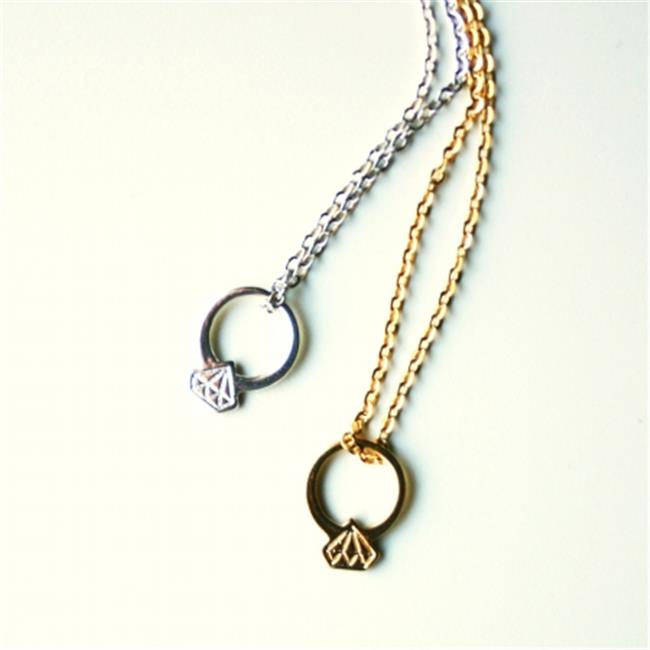 Rebecca RINGNG 16. 5''L Metal Diamond Ring Necklace - Gold