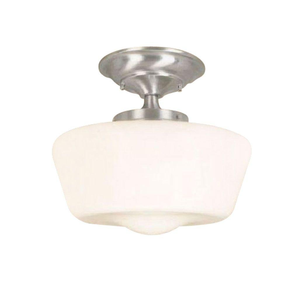 9007-08 Schoolhouse 1-Light Semi Flush Mount Fixture, Chrome, Brings functionality to your home, while offering the... by